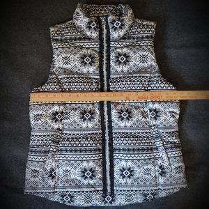 Lands End Fairisle Snowflake Puffer Vest Womens